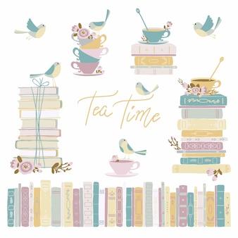 本と鳥とお茶。ビンテージコレクション。パステルカラーのシンプルな漫画のスタイルでかわいい幼稚な手描きイラスト