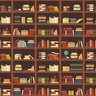 Books in bookcase seamless pattern