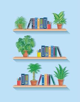 Books on bookshelf with decorative green plants graphic flat vector illustration