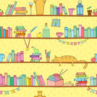 Books, cat and other things on shelves. seamless pattern