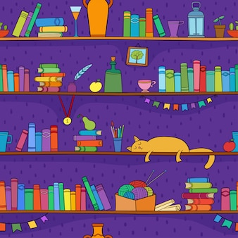 Books, cat and other things on the shelves.  seamless pattern.