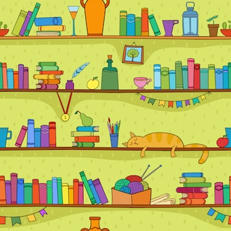Books, cat and other things on the shelves. vector seamless pattern.