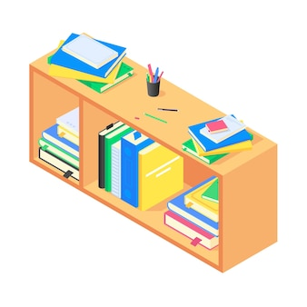 Books and chancellery on brown wooden bookshelf in isometric