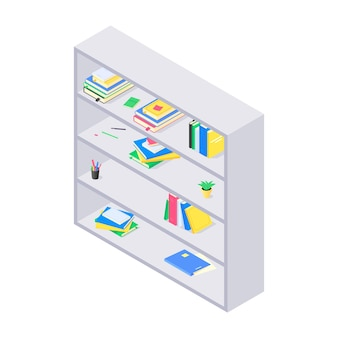 Books and chancellery on gray wooden bookshelf in isometric