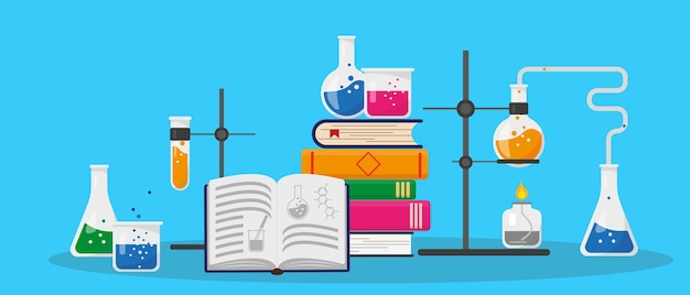 Books, chemistry research lab and science equipment. education and chemistry concept.  illustration.