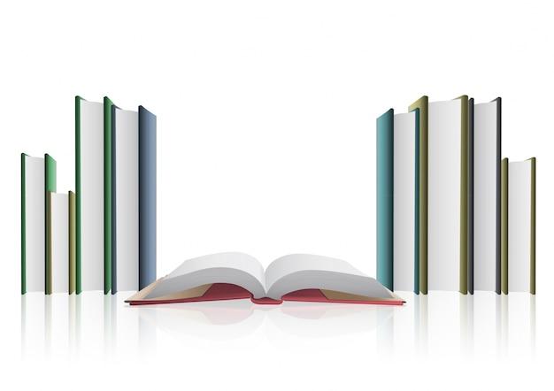Raccolta di libri su sfondo bianco