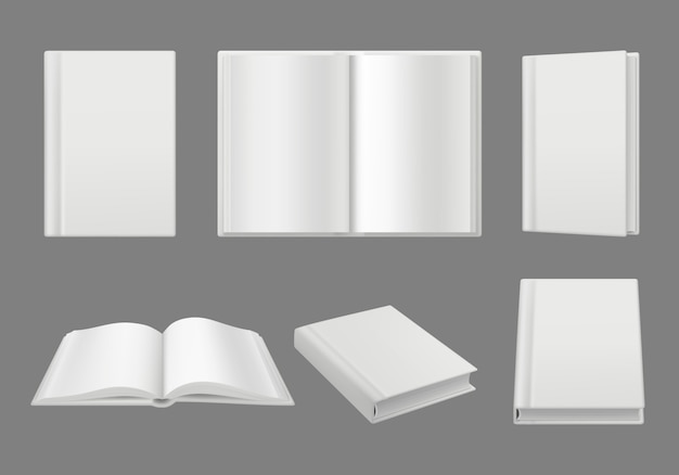 Books cover template. clean white 3d pages isolated brochuremagazine  realistic mockup