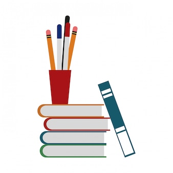Books and cup with pens vector illustration graphic design