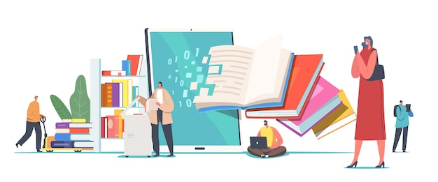 Books digitization concept. librarian characters scanning paper pages converting information into digital version on computer, tiny people with huge books in library. cartoon vector illustration