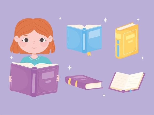 Книжная девочка читает букву и различные учебники, изучающие карикатуру