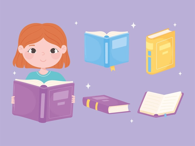 Books girl read boook and various textbooks learning cartoon illustration