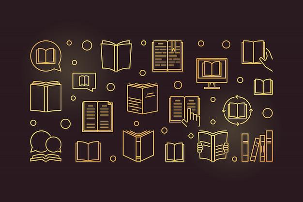 Books golden icons set
