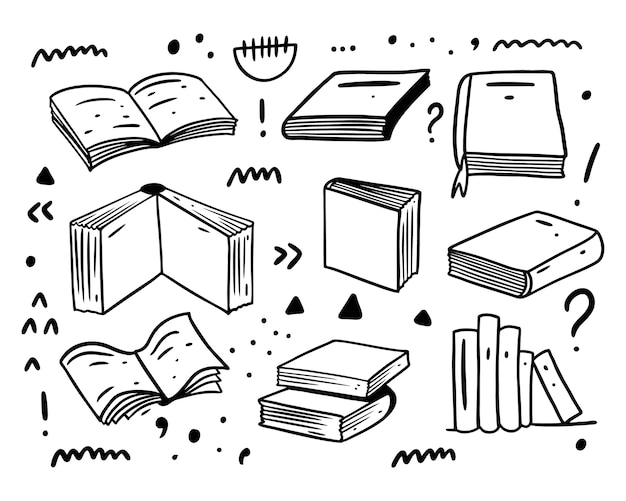 Books hand drawn doodles big set collection.