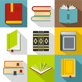 Books icon set, flat style