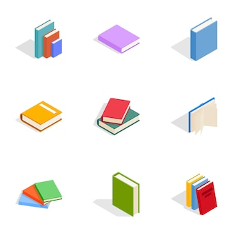 Books icons set, isometric 3d style