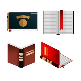 Books icons set knowledge concept.