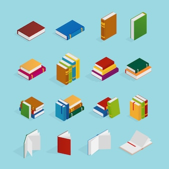 Books isometric icons set