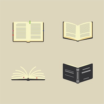 Books, knowledge and reading kit. open book pictograms, stacks of books. flat cartoon colorful vector illustration.