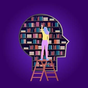 머리 모양의 책 도서관계단에 서서 책에 손을 뻗는 소녀