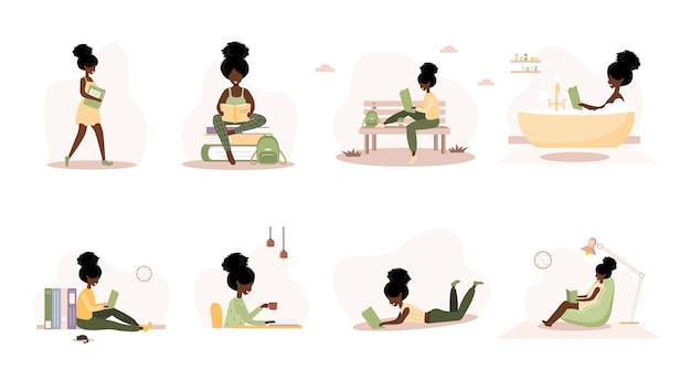 書籍愛好家。本を持っているアフリカの読書女性。試験または認定の準備。知識と教育ライブラリのコンセプト、文学読者。フラットスタイルのベクトル図のセットです。