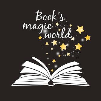 북스 매직 월드 포스터. 흰색 페이지와 황금 마법의 별표 벡터 일러스트가 있는 펼친 책