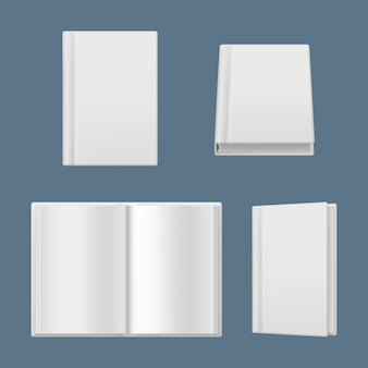 Books mockup. clean white pages of magazines and books cover brochure surface realistic illustration