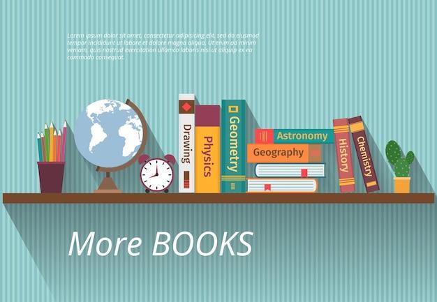 Книги на книжной полке. изучите знания, мебель и стены, учебник и информацию, энциклопедию науки,