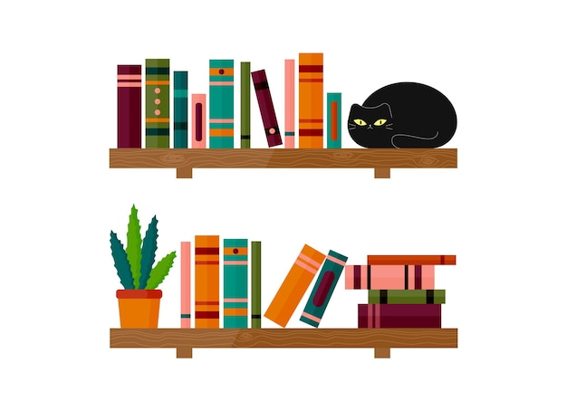 검은 고양이와 알로에 냄비가 있는 선반에 책 책장에 앉아 있는 고양이