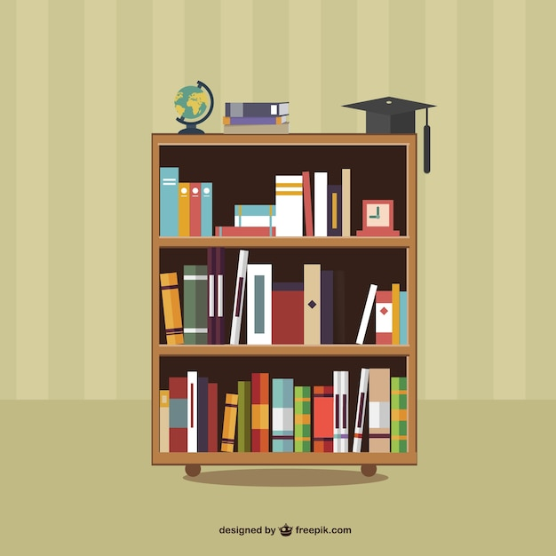 Books on shelves & Bookshelf Vectors Photos and PSD files | Free Download