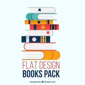 Books pack in flat design