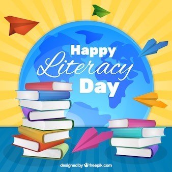 Books and paper planes background of literacy day