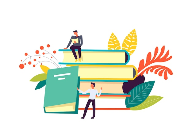 Books and people reading publications decor isolated