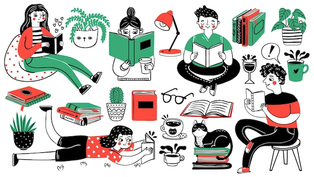 Books and readers. happy people read and study. book piles, houseplants, cat, tea and coffee cup. hand drawn cartoon hobby decorative set. young person read book with tea and cat illustration