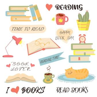 책, 독서 및 아늑한 물건이 설정됩니다. 개념은 사랑 읽기, 세계 책의 날입니다.