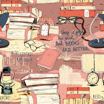 Books reading seamless background