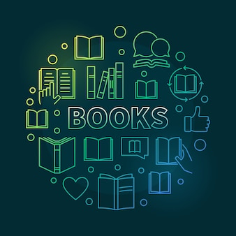 Books round colorful outline vector concept illustration