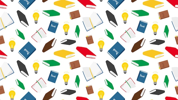 Books seamless pattern. vector books and light bulbs seamless texture. reading background