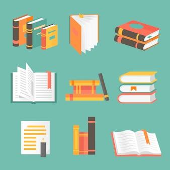 Books set in flat design style