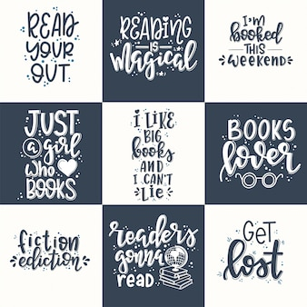Books set hand drawn typography poster. conceptual handwritten phrase t shirt hand lettered calligraphic design. inspirational vector