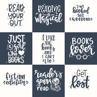 Набор книг ручной обращается типографика плакат. концептуальная рукописная фраза футболка ручной надписи каллиграфический дизайн. вдохновляющий вектор