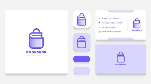 Books shop logo template and business card