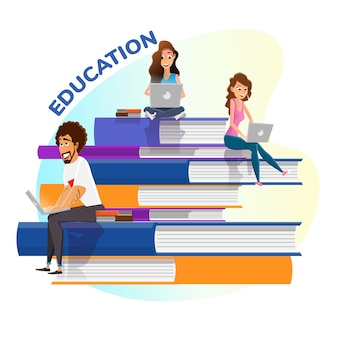 Books stack and happy tiny people education poster