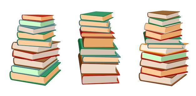 Books stack set. pile of books.