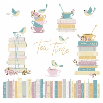 Books and tea with birds. vintage collection. cute   childish hand-drawn illustration in simple cartoon style in pastel colors