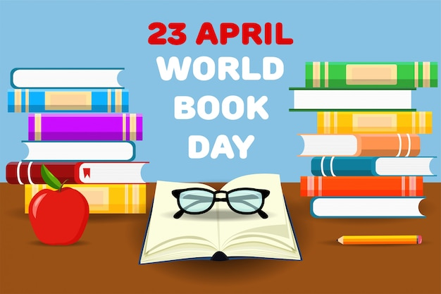 Books training. world book day. april. knowledge. reading. world. for your design.