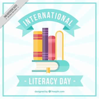 Books in warm colors for literacy day