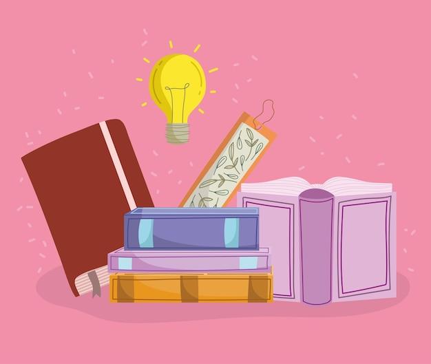 Книги с лампочкой блестящий мультфильм