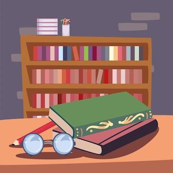 Книжный шкаф и карандаши цвета иконы