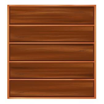 連隊と茶色の木からの本棚、白い背景で隔離、