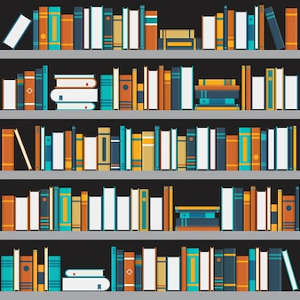 Bookshelf illustration in flat style.
